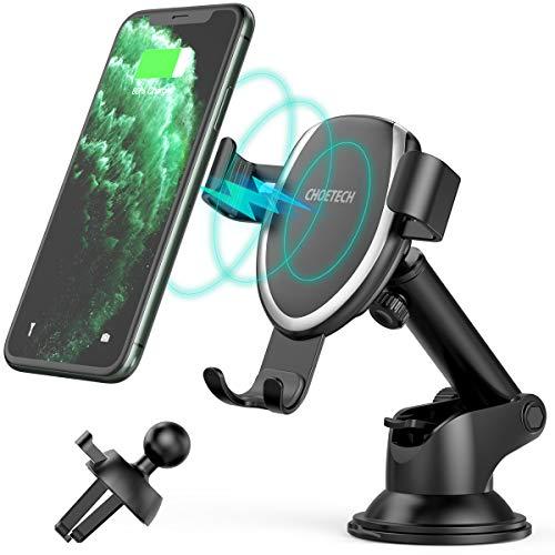 7.5W/10W Wireless Charger Auto,CHOETECH Qi Auto Handyhalterung Lüftung Kfz Induktive Ladestation Schnellladegerät für iPhone 12/12 Pro/SE 2020/11/11Pro/XR/XS,Galaxy Note 20/10/9/S20/S10/S9,Huawei