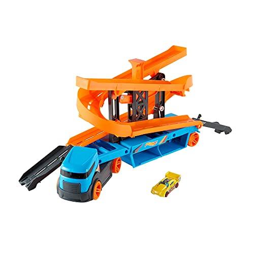 Hot Wheels City Camión de transporte Lift & Launch, pista de coches de juguete Mattel HGC17