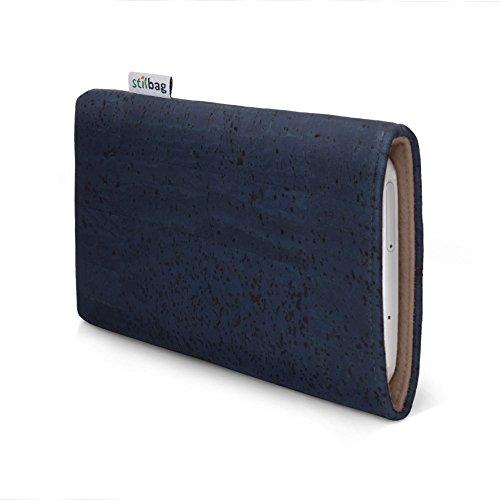 stilbag Handyhülle VIGO für Samsung Galaxy J5 (2016)   Smartphone-Tasche Made in Germany   Kork denimblau, Wollfilz haselnuss