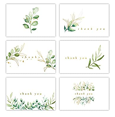 Gooji 4x6 Golden Greenery Thank You Cards (Bulk 36-Pack) Matching Peel-and-Seal White Envelopes | Assorted Set, Watercolor, Faux Gold, Colorful Graphics | Birthday Party, Baby Shower, Weddings