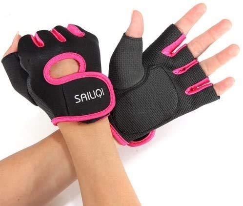 XinYiC Guantes deportivos Guantes de gimnasio para mujeres y hombres Protector de dedos y muñeca para ejercicios Negro - Rosa