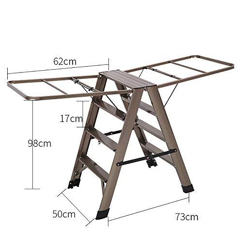 FF Droogrek hangers Platte profiel drogen kapstok Multifunctionele opvouwbare ladder Aluminium Staande Balkon Dubbele gebruik hanger Coat rack