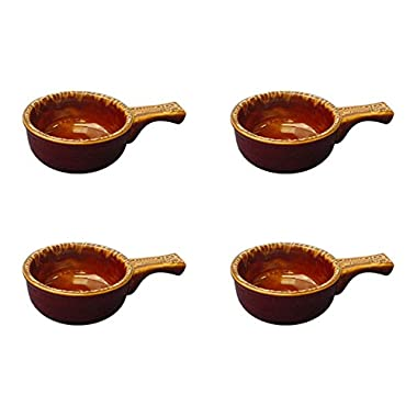 Onion Soup Crock with Handle ~ Stoneware - Set of (4) (Caramel)
