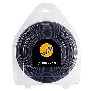FEPITO Hilo para desbrozadora - Cuadrado - 2,4mm - 77m - Doble Hilo 2 en 1, Calidad Profesional (2,4 mm x 77 m - Cuadrado)