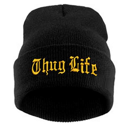 HPOZA Black Letter Hat Für Männer Thug Life Strickmützen Männlich Weiblich Winter Skullies Und Beanies Frauen Casual Hüte Caps