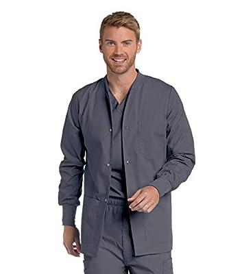 Landau Men's Premium 4-Pocket Classic Fit Warm-Up Medical Scrub Jacket, Steel, Large