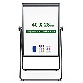 Stand White Board Magnetic 40 x 28 inches Dry Erase Board Double Sided Adjustable Flip Chart Easel Portable Whiteboard with Flipchart Hook for Tabletop Presentation Discusssion Meeting Teaching Black