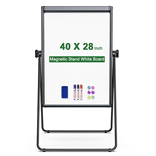 Stand White Board Magnetic 40 x 28 inches Dry Erase Board Double Sided Adjustable Flip Chart Easel Portable Whiteboard with Flipchart Hook for Tabletop Presentation Discusssion Meeting Teaching, Black