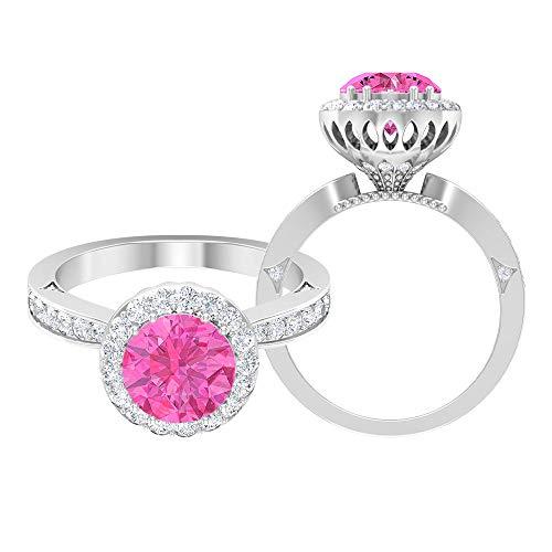 Anillo de compromiso único, D-VSSI 2,6 quilates solitario rosa zafiro creado por laboratorio, anillo de halo, anillo de boda nupcial, anillo de declaración, anillo antiguo, 14K Oro blanco, Size:EU 56