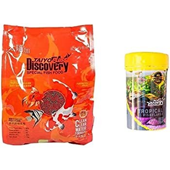 TAIYO PLUSS DISCOVERY FISH FOOD 1 KG (1.2MM PELLETS) + 10 GRAM TROPICAL FLAKES (MRP RS.50 WORTH FREE!!!)
