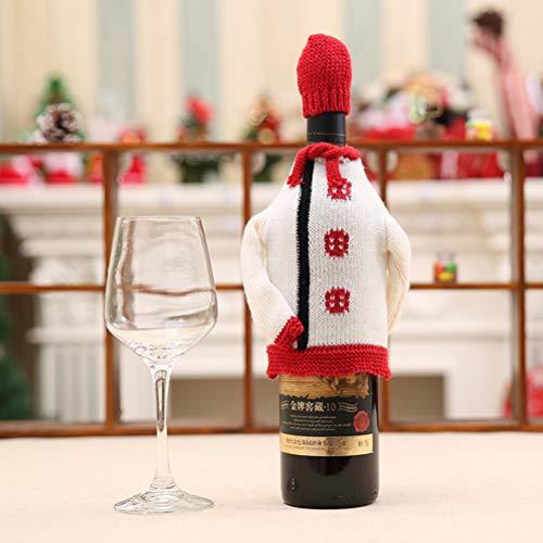Weesey Kerstmis hoed gebreide jas rode wijn flessenhouder afdekkingszak-gebreide geschenkzak-kerstdecoratie