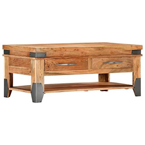 Tidyard Table Basse (avec 2 tiroirs et 1 étagère) en Bois d'Acacia Solide Style Industriel 110 x 55 x 45 cm