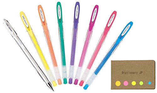 Uni-ball Signo Angelic Color Capped Gel Ink Pen, 0.7mm, Pastel Colors, 8 Color Ink, Sticky notes Value Set