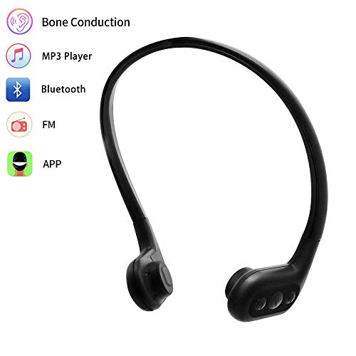 Tayogo Waterproof MP3 Player, Bone Conduction Bluetooth Headphones for Swimming Support APP Control FM - Black