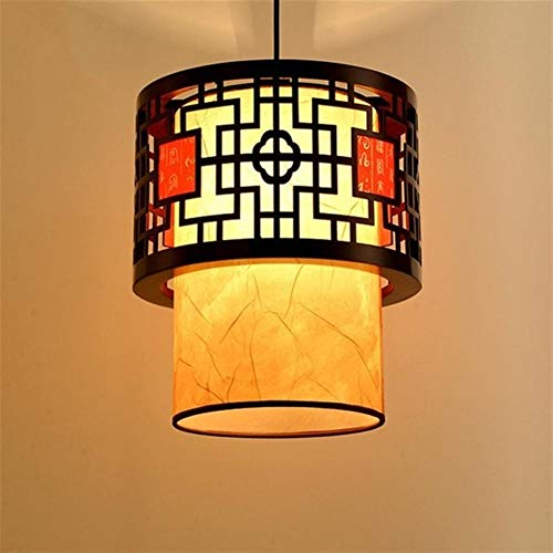 RTRY moderno romántico lámpara de la sala de estar Retro Hotel oriental del estilo chino de la linterna de luz colgante lámparas clásicas con la iluminación de bulbo interior (Body Color : Yellow)