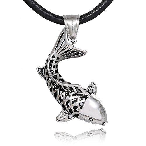 DonDon Herren Halskette Leder 50 cm mit Anhänger Glücksfisch Koi Edelstahl in einem Samtbeutel