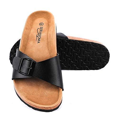 Seranoma Women's Open Toe Adjustable Buckle | Slip On Slide | Flat Footed Cork Sandal | Comfortable...