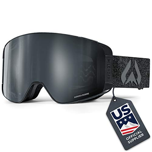 WildHorn Outfitters Pipeline Ski Goggles - Wide View Anti-Fog Cylindrical Snowboard Goggles - 100% UV Protection Magnetic Quick-Change Lens Snow Goggles for Men & Women, Stealth Jet Black, Adult