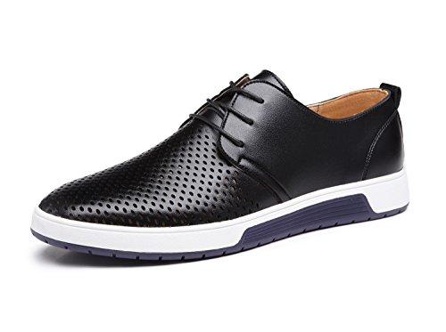 Zapatos de Cuero Hombre, Oxford con Cordones Brogue Vestir Derby Informal Negocios Boda Calzado Respirable Negro 42