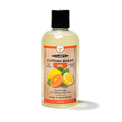 Cutting Board Oil (12oz) by CLARK'S | Enriched with Lemon & Orange Oils | Food Grade Mineral Oil |Butcher Block Oil & Conditioner