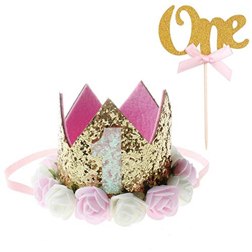 Xinlie 2 Piezas Corona Cumpleaños 1 Año Cake Toppers