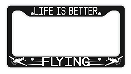 ThisWear Pilot Gifts Life is Better Flying License Plate Frame Airplane Pilot Plate Frame Pilot Accessories Airplane License Plate Frame Novelty Licen