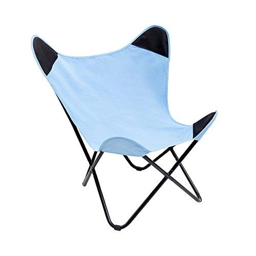 Sessel BUTTERFLY Canvas blau Designklassiker Stuhl Eisengestell Lounge Esszimmer Klappstuhl Loungesessel Liegestuhl