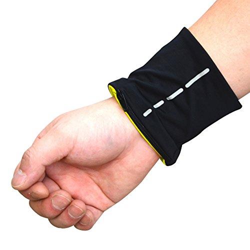 CHIC-2pcs Sport Handgelenktasche Fitness Schweißarmband Armbandtasche Wrist Wallet Zip Reißverschluss atmungsaktiv für Laufen Radfahren (A)