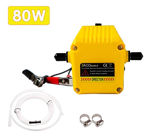 Jacobable Oil Change Pump Extractor, 12v 80w Marine Oil Change Pump and Electric Oil Pump, Great Choice for Oil Changes in Car, Ship, Truck, Motorcycle (Yellow)