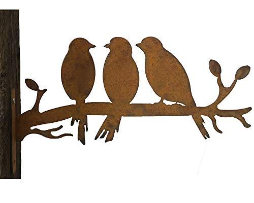 Gartenstecker Baumstecker Metall Rost rostige Gartendeko Edelrost 3er Vögel Vogel rostige Deko
