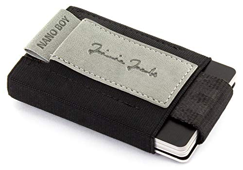 JAIMIE JACOBS Nano Boy VEGAN Mini Geldbörse aus Textil, Veganer Mini Wallet, Kleiner Veganer Geldbeutel, Mini-Portemonnaie für Herren 100% vegan (Grau)