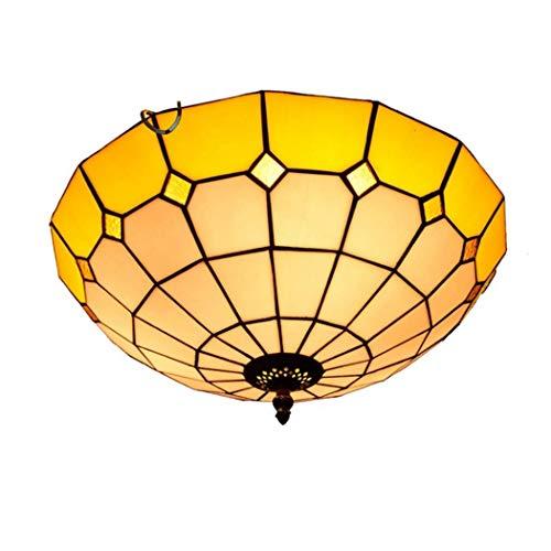 Tiffany Style Encastré Plafonnier 12 Pouces Méditerranée Multicolor Stained Glass Ceiling LED Light 2 Abat-Jour E27 pour Salon Hall D'entrée,16inchyellow