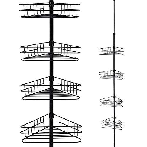 Estantes de baño - Estante de almacenamiento Estante de esquina de baño telescópico de metal de 4 niveles Estante de almacenamiento para ducha de baño