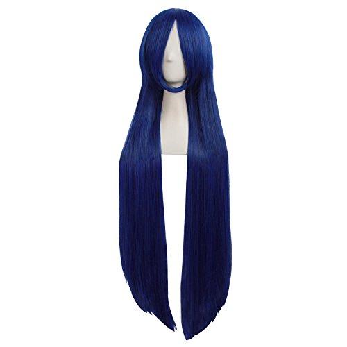 MapofBeauty 39 Pouce/100cm Perruque De Costume De Mode Longue Ligne Droite Perruque De Mode (Bleu/Noir)