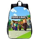 Mochila para niños, Mochila Escolar Impermeable con patrón de Dibujos Animados de Minecraft 3D, Adecuada para niños y niñas, Mochila Ligera de Gran Capacidad