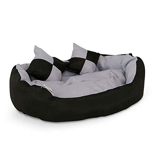 Dibea - Cama para Perros 4 en 1, cojín para Perros, Cesta para Perros con cojín Reversible, Color Negro/Gris, Talla S