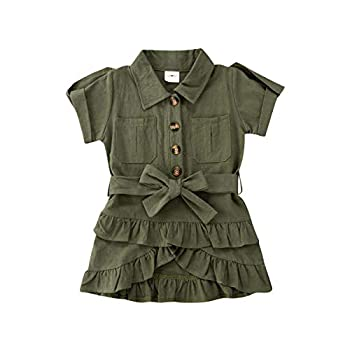 Bacuyou Toddler Girl Uniform Overall Jumper Dress Short Sleeve Turn-Down Collar Ruffles Belted Mini Shirt Dress with Pocket  Army Green 3-4T