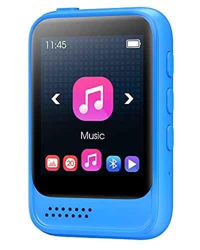 32G MP3 Player Bluetooth 5.0 mit Voller Touchscreen, JOLIKE Tragbare HiFi Verlustfreier Ton MP3 Musik Player, mit Line-in Voice Recorder, FM Radio, Built-in Lautsprecher, Unterstützt bis zu 128 GB