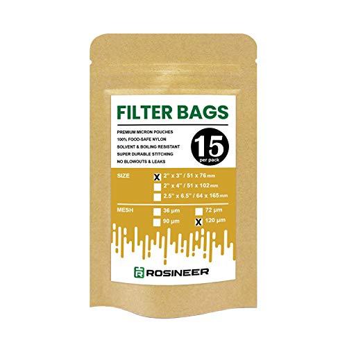 Rosineer Premium Nylon-Filterbeutel, 5,1 x 7,6 cm, 15 Stück, 120 Mikron Netzgröße, Doppelnähte, keine Ausbrüche