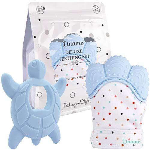 Liname Deluxe-Beiß-Set inkl. Beißhandschuh für Babys & Beißspielzeug, waschbarer & strapazierfähiger Zahnungshandschuh – Geschenkverpackung (blau)