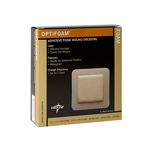 Medline MSC1044EPZ Optifoam Adhesive Dressings, 4' x 4' (Pack of 10)