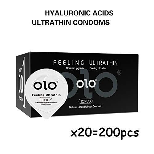 Kondome Fühlen Sich Ultradünn mit Naturlatex überzogen Hyaluronsäure Schmierung Feuchtigkeitsspendendes Premium-Schmiermittel auf Wasserbasis 200 Stück Condoms