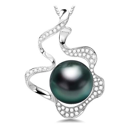 Best Friend Necklaces, 10-11 mm, collar con colgante de circonita cúbica y perlas cultivadas de Tahití, color negro, diseño floral, joyería de perlas para mujeres y niñas con cadena de plata d