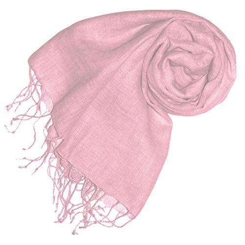 Lorenzo Cana - Damenschal Schal Tuch Leinenschal 65 x 175 cm 100% Leinen uni Rosa Rose Hellrosa Pastell einfarbig Damentuch Stola Schaltuch - 93071