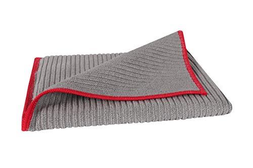 BELLANET antibakterielles Microfaser-Tuch, keine Keimbildung durch Spezialfaser, für Sanitär und Haushalt, saugstark und schnelltrocknend (grau/rot)