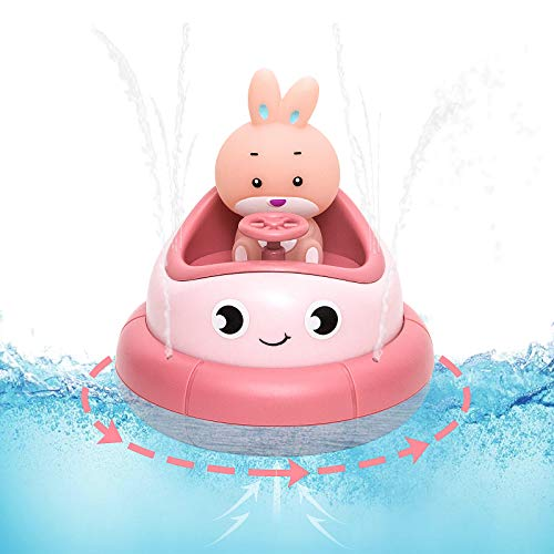 Agzsovep Shower Pool Toys Boats for Bathtub with Rabbit Rotating Water Spray Bath Toys for Toddlers and Baby Sprinkler Interactive Fountain Sprinkler Bathtub Infant Bath Toys Gifts for Boys Girls