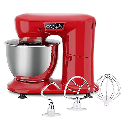 AIFEEL Stand Mixer 800W Kitchen Electric Mixer with 4.3 Quart SUS Bowl, Splash Guard, Flat Beater, Dough Hook and Balloon Whisk - 3 Speed Settings with LED Display (Retro Red)