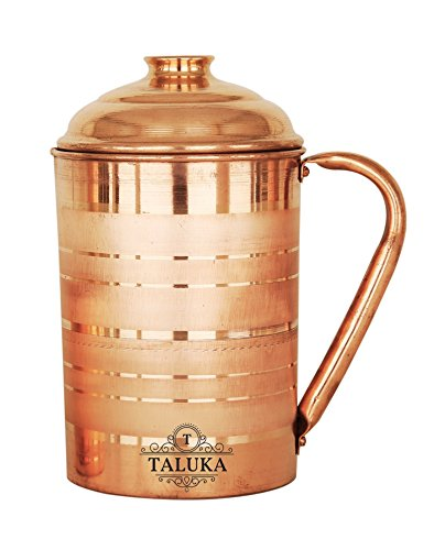 Copper Jug Pitcher Drinkware Water Storage Serve Ayurveda Good Health Benefits (57.5 Oz)