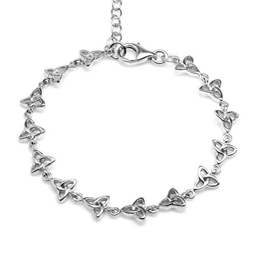 Silvershake 925 Sterling Silver Triquetra Celtic Knot 6 to 7.5 Inch Adjustable Bracelet