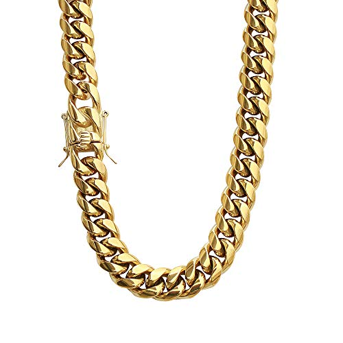 PY Bling Mens Heavy Miami Cuban Link Chain Choker 14k Gold Plated Hip Hop Thick Stainless Steel 8mm-16mm Necklace/Bracelet (10mm,30)